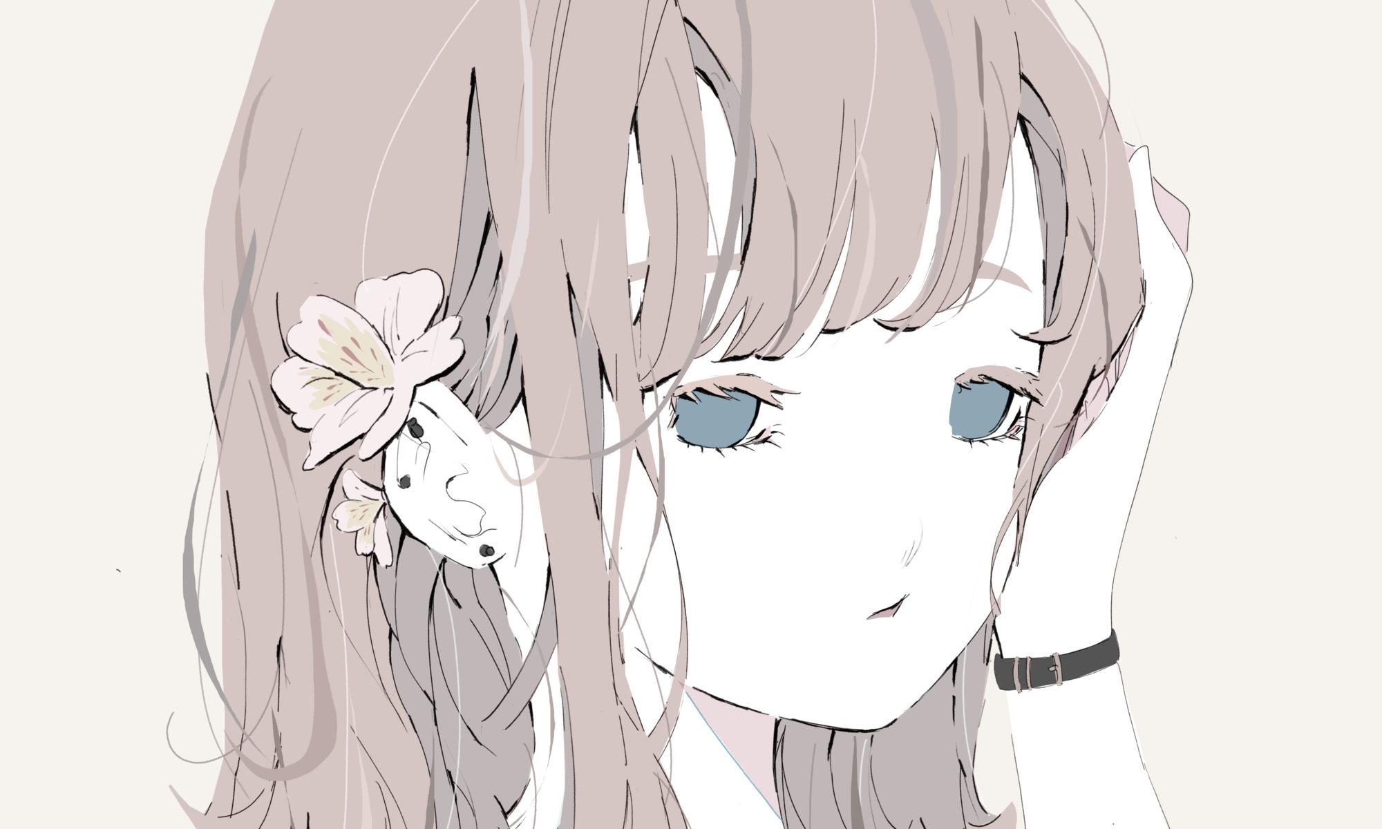 アルストロメリアのピアスをしている女の子のイラスト