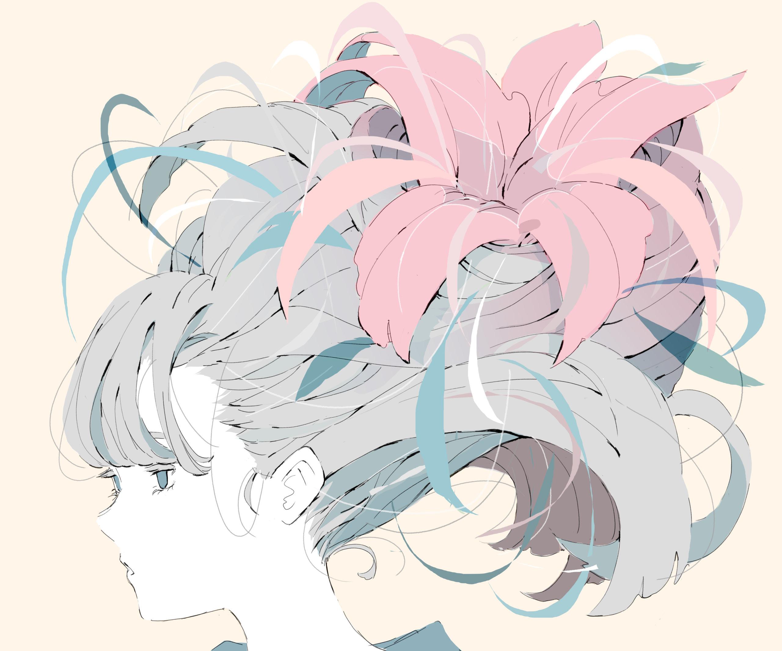髪が花と同化している女の子のイラスト