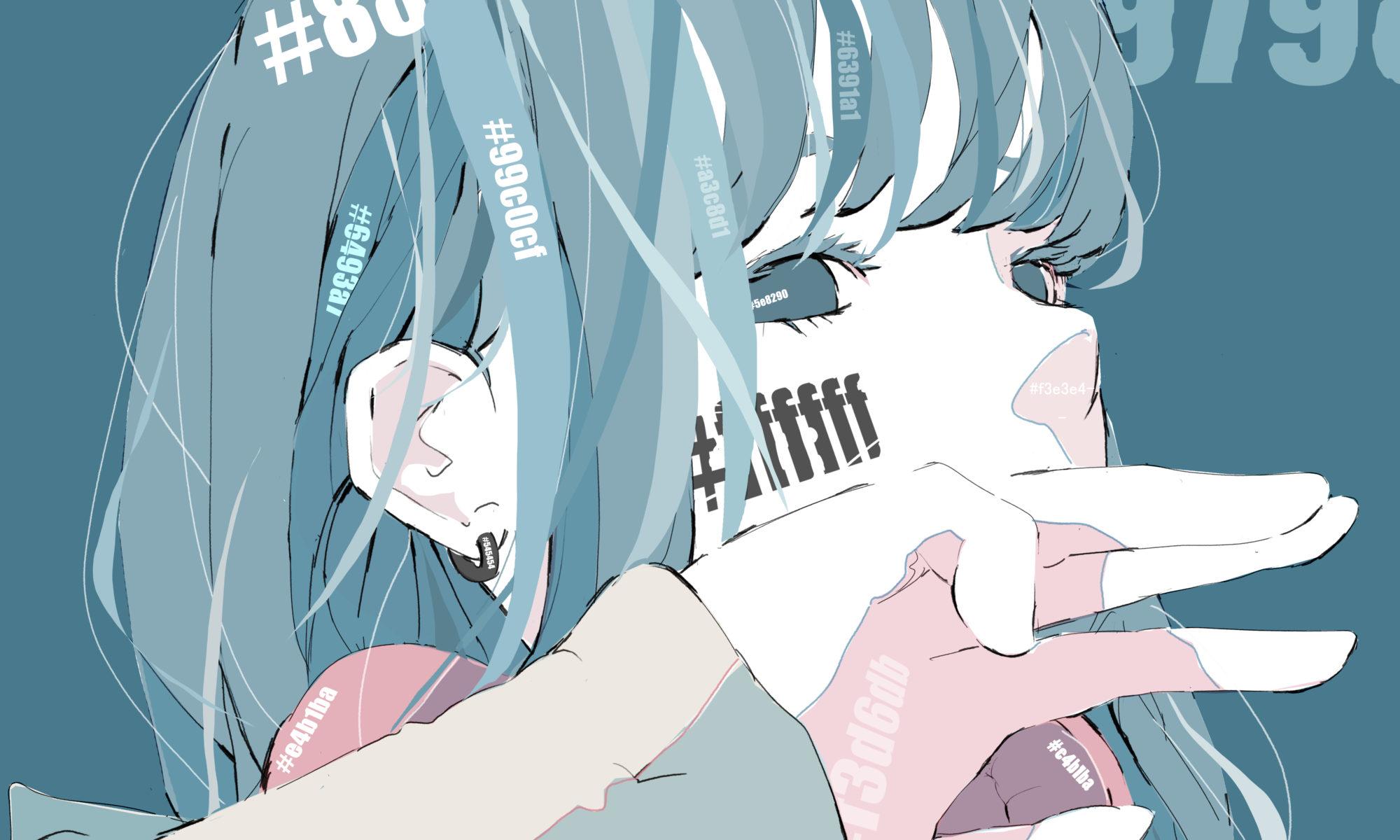 カラーコードが体に浮き出てい青髪ヘッドホンの女の子のイラスト