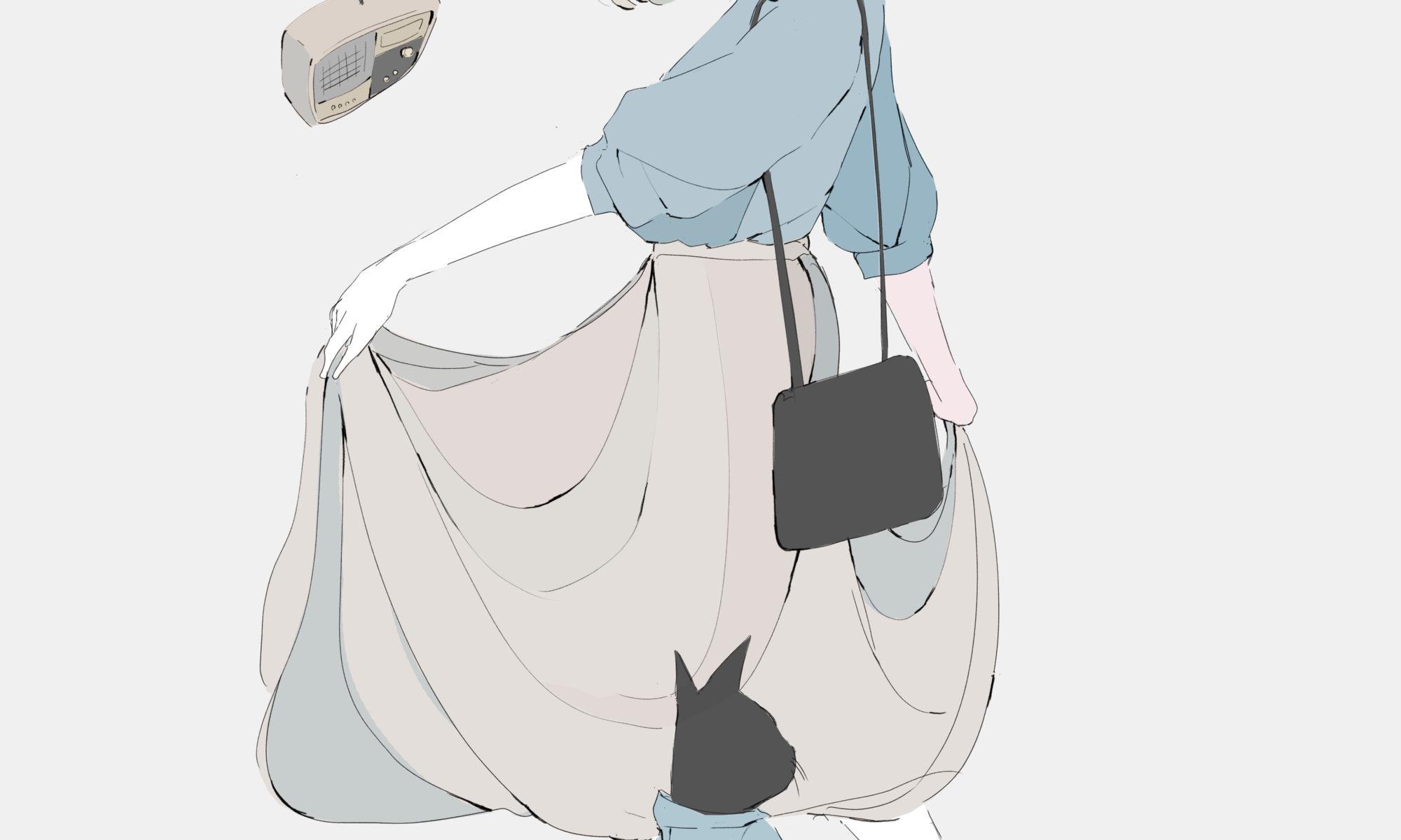 ロングスカートの女の子と黒猫 イラスト