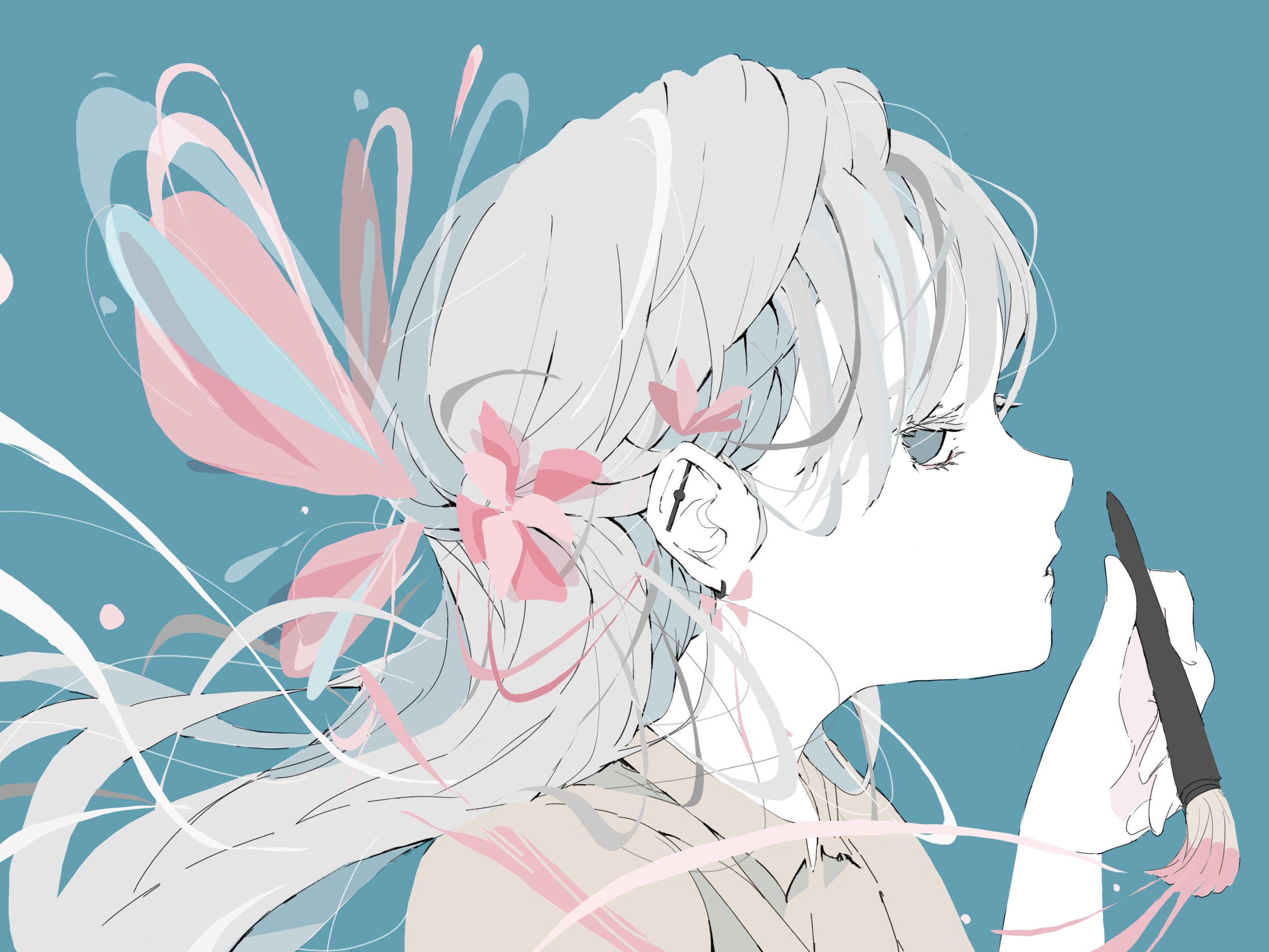 蝶々と花の髪飾りを自分で描く女の子のイラスト