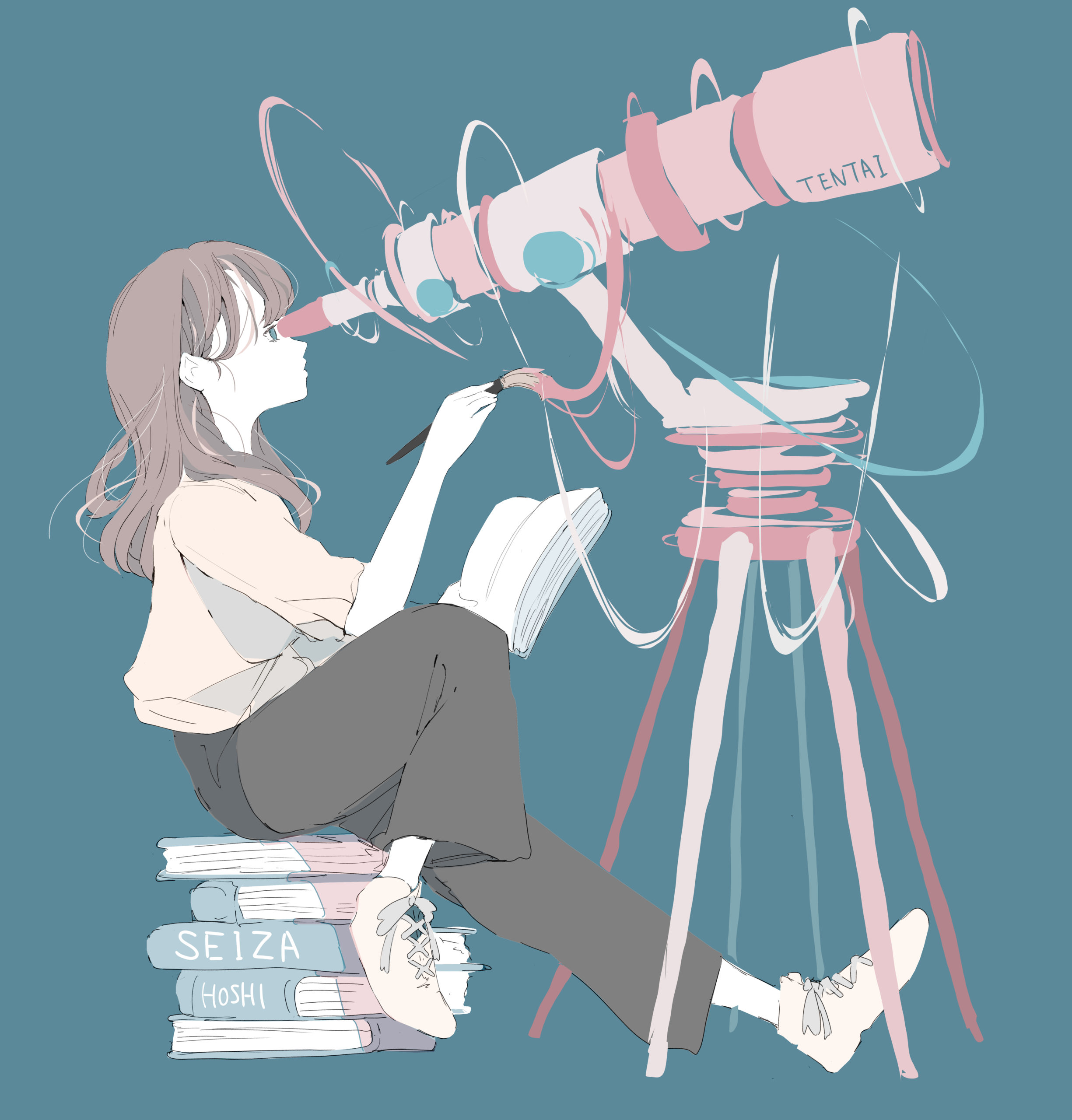天体望遠鏡を覗く女の子 イラスト