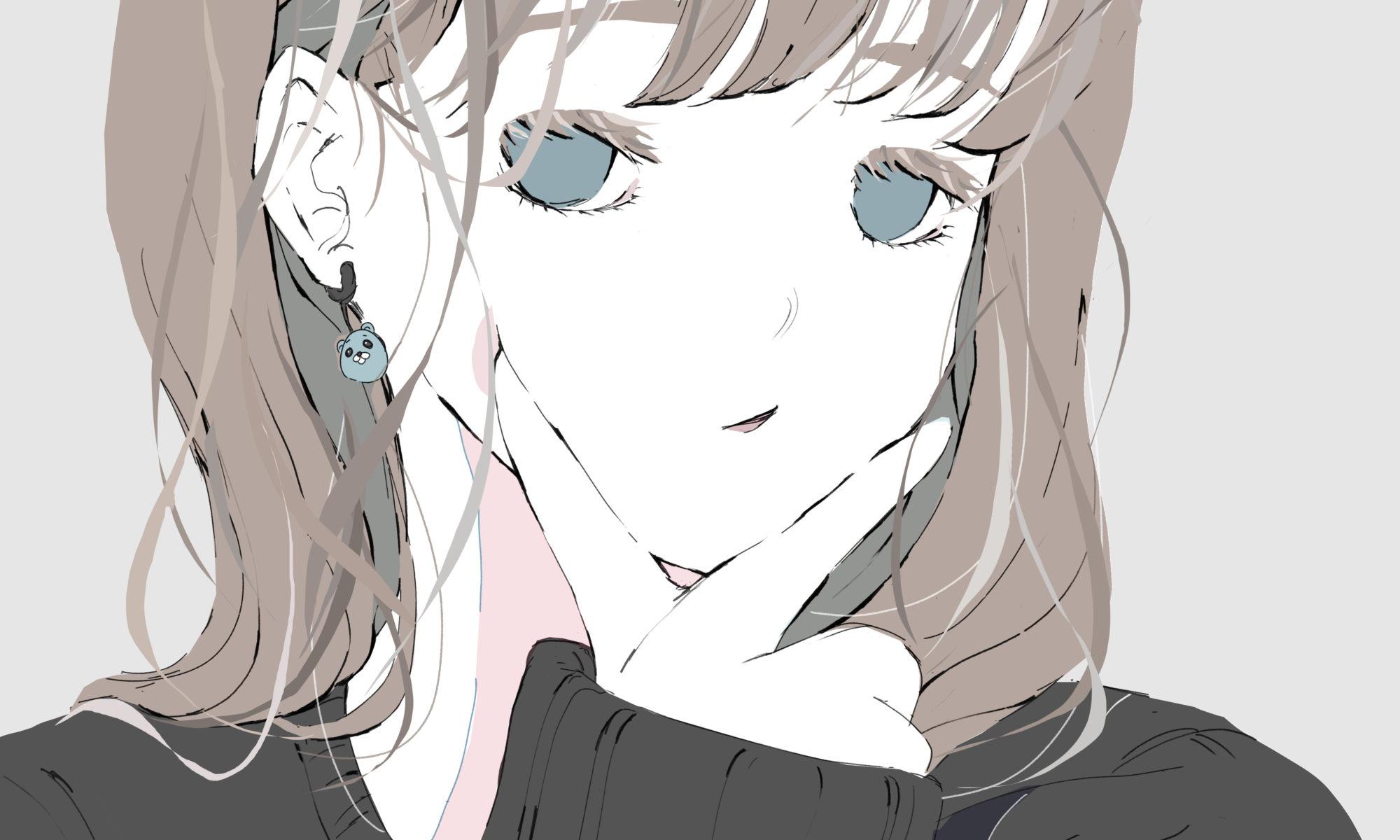 自撮りで顎ピースする女の子のイラスト