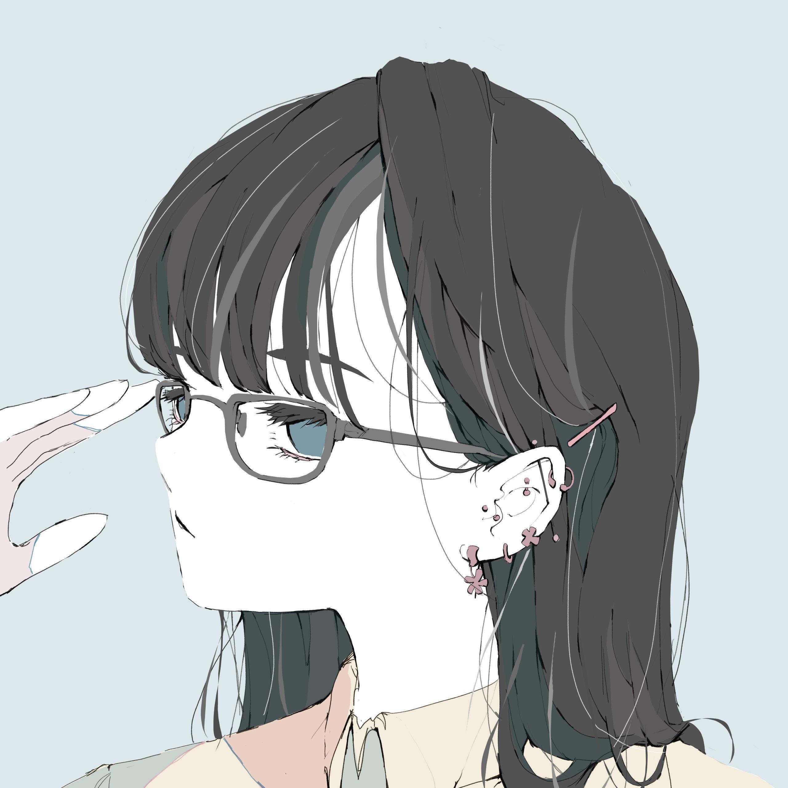 耳に大量のピアスをしている地味な黒髪ロング眼鏡の女の子のイラスト