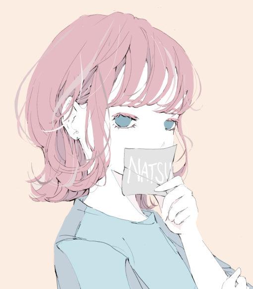 ピンク髪のウルフカットの女の子のイラスト
