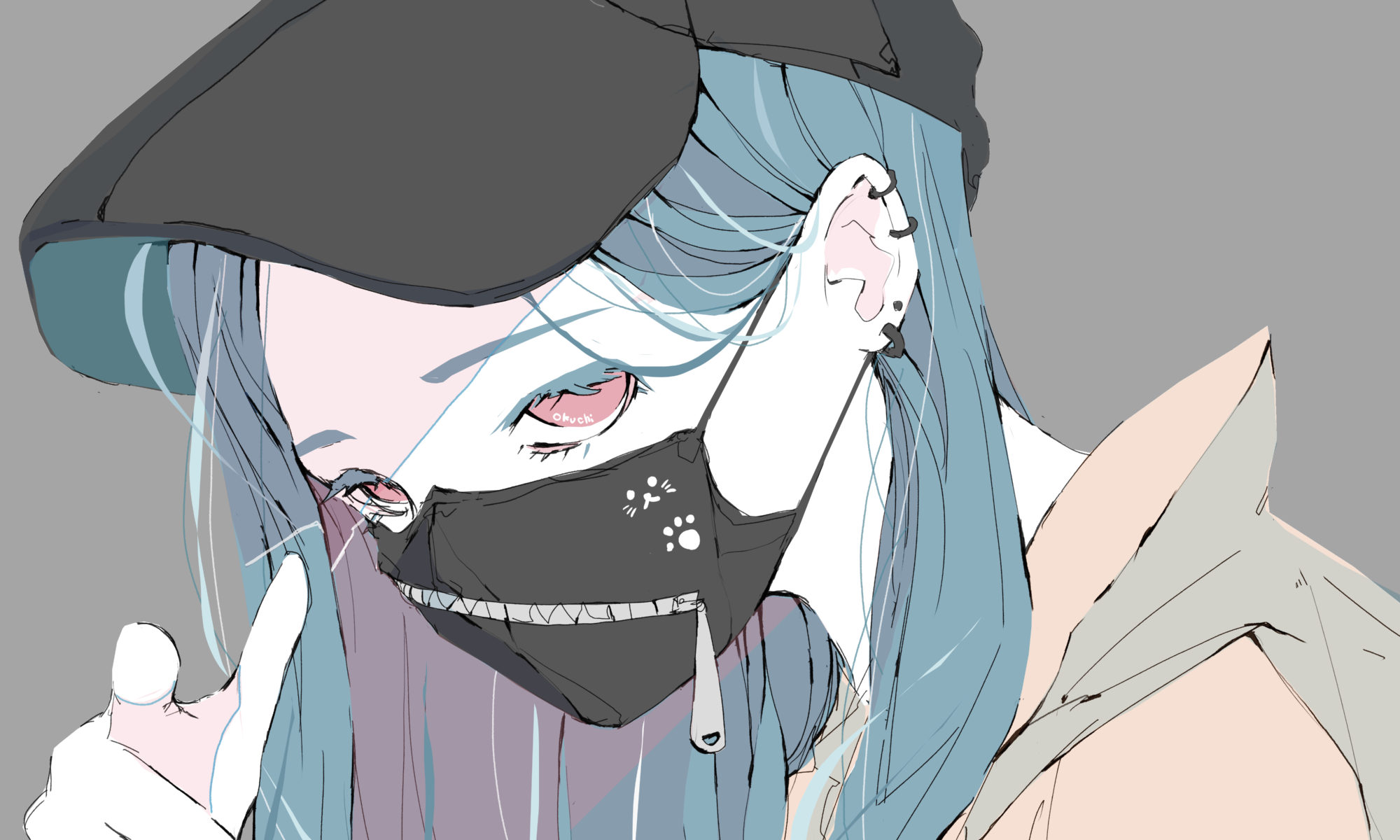 キャップの青髪の女の子 イラスト