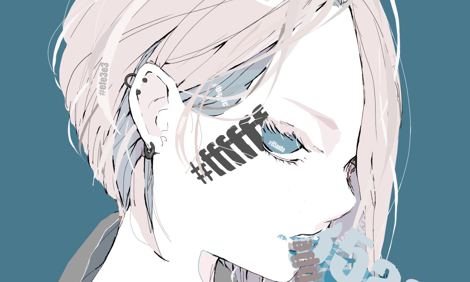 カラーコードが刻まれたショートカットのかっこいい女の子のイラスト