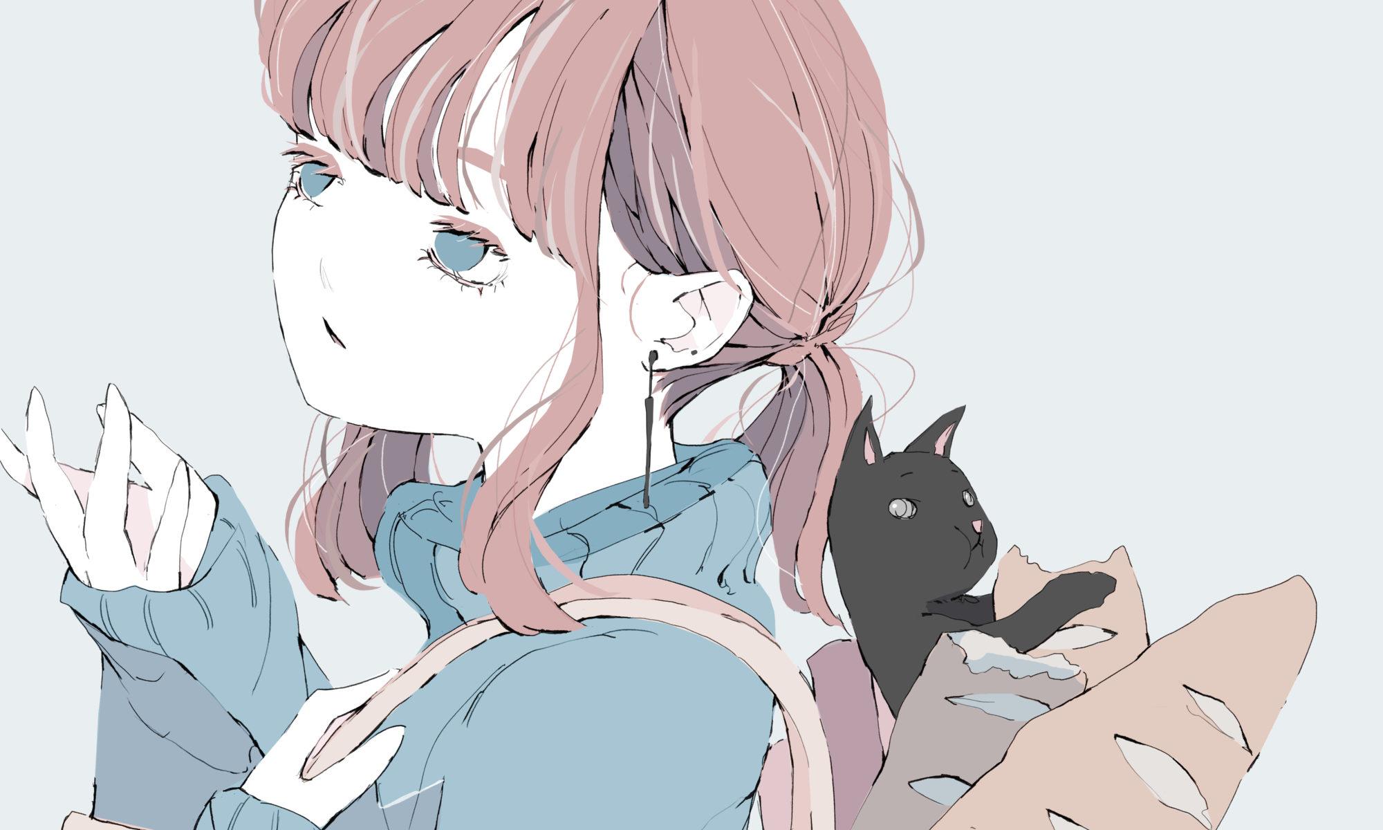 女の子と黒猫のイラスト