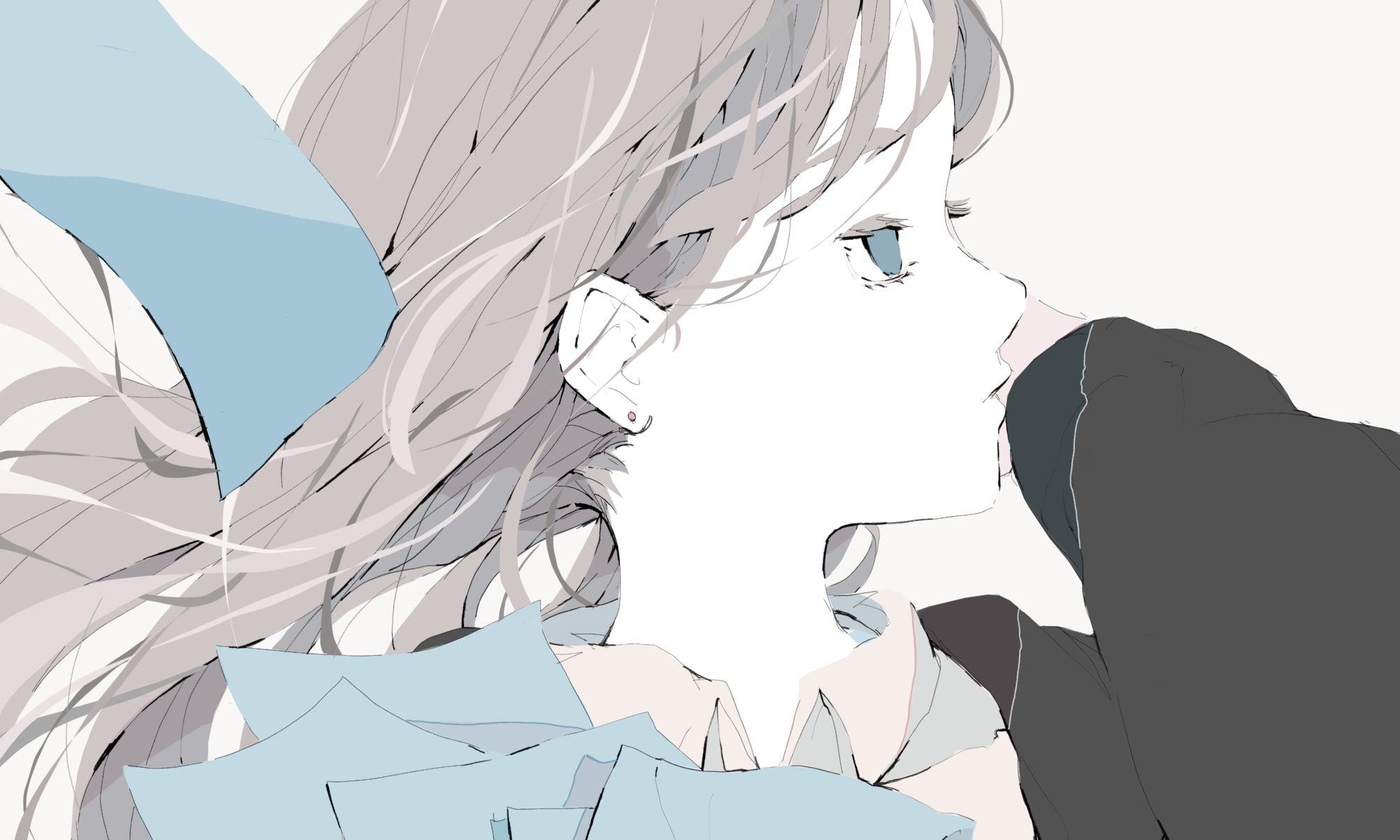 髪が風でなびく女の子のフリーアイコン/イラスト
