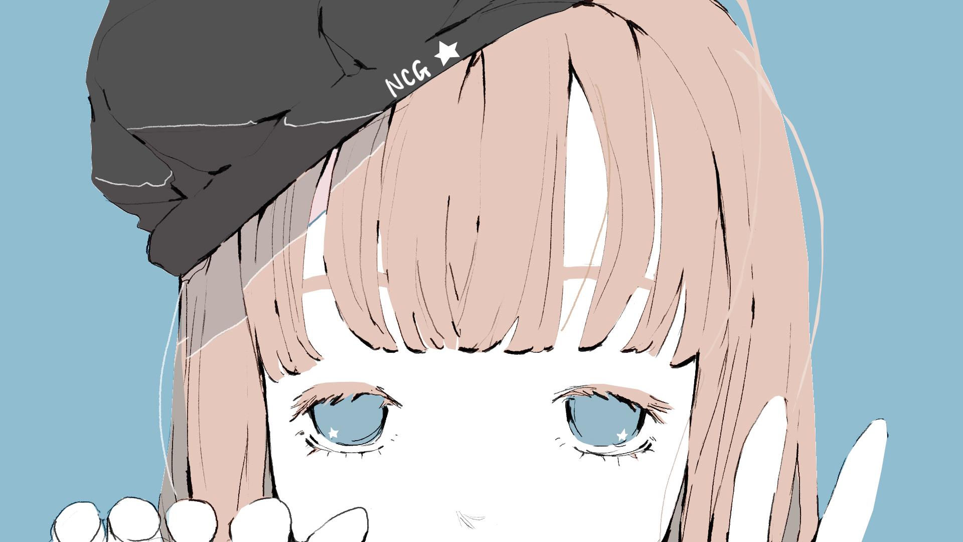 覗く女の子のイラスト/フリーアイコン