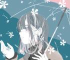 傘をさす女の子のイラスト