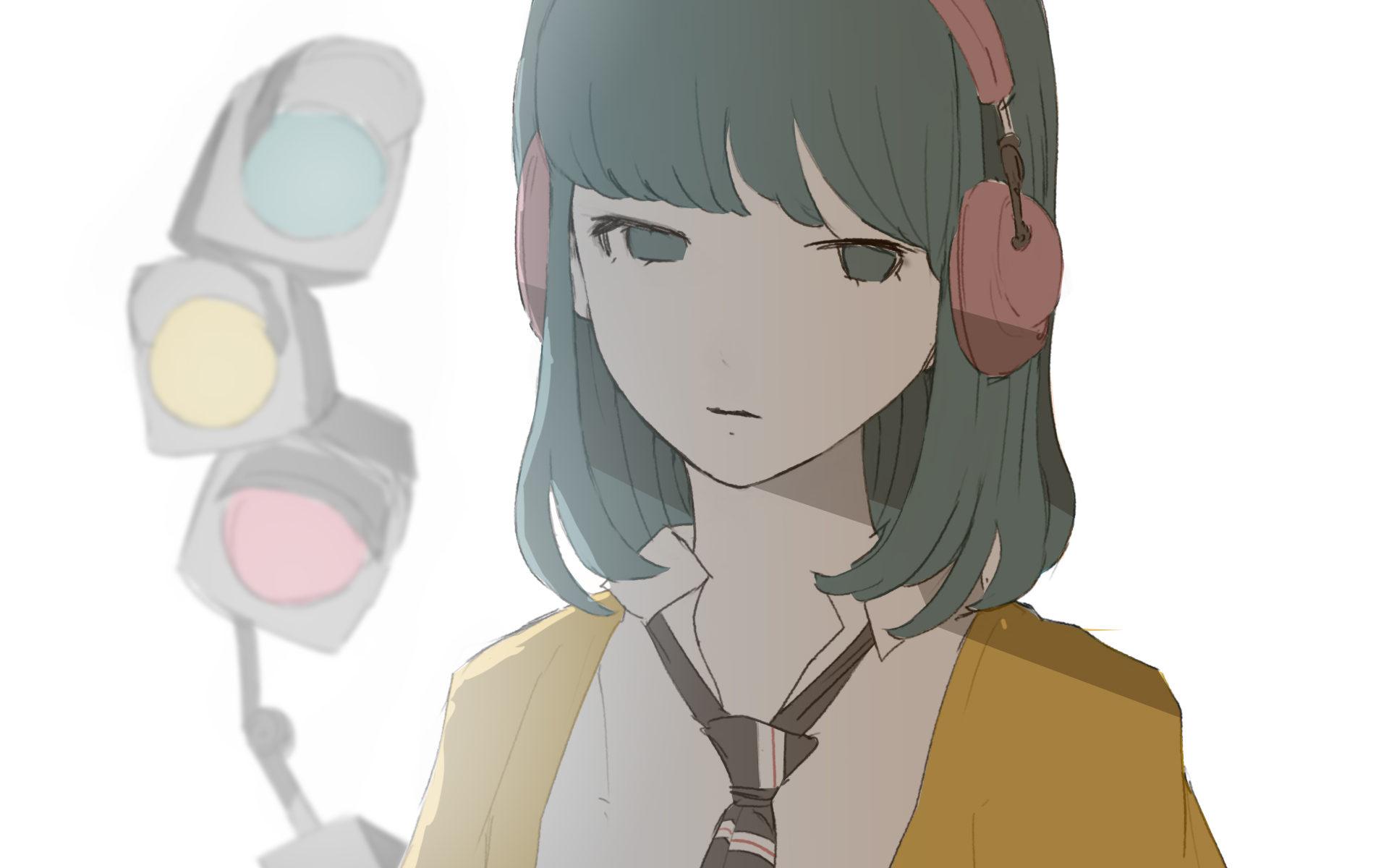 信号機と女の子のイラスト