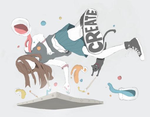 浮遊しながら絵を描く女子高生のフリーイラスト