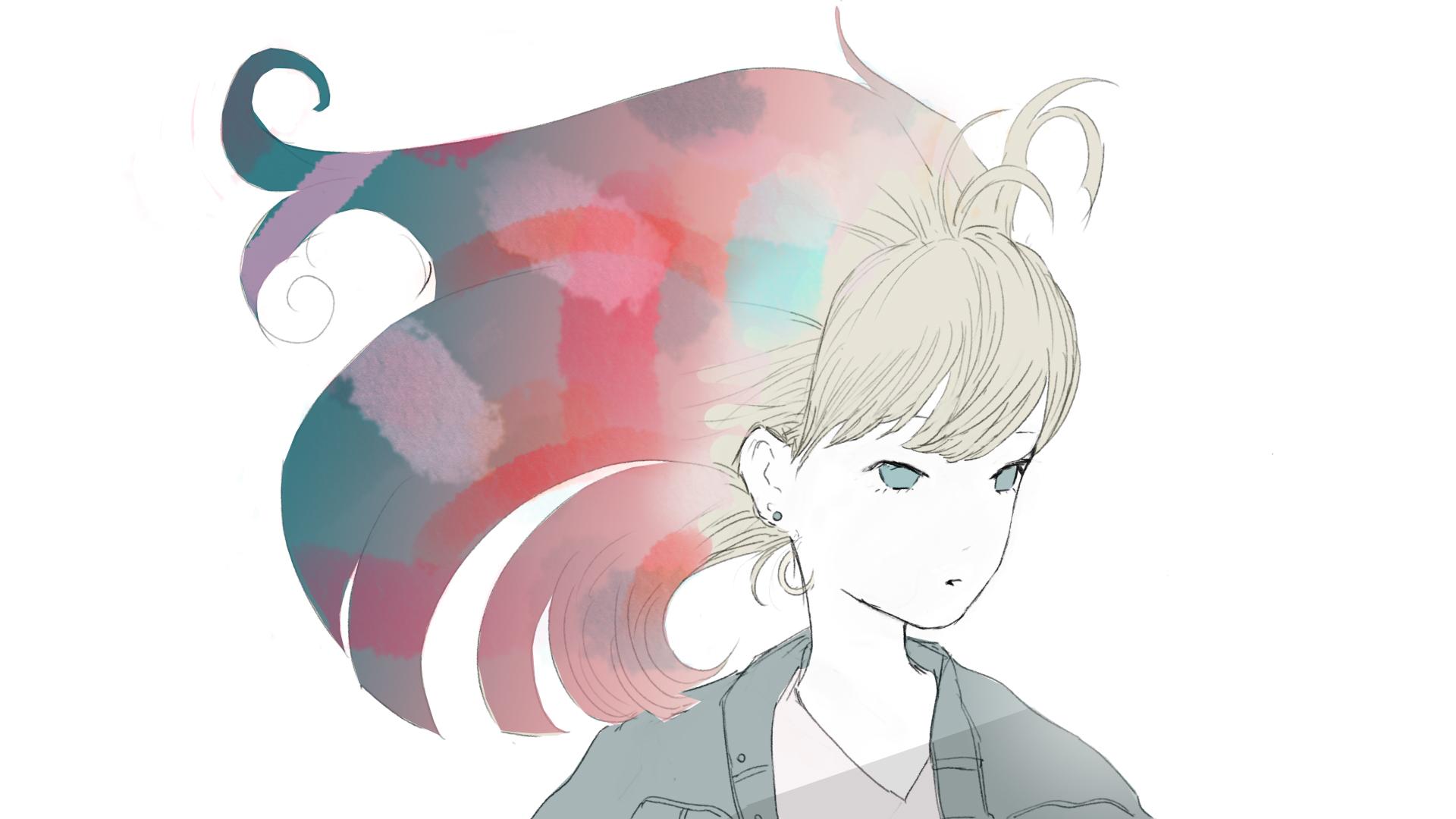 髪色自在の女の子のフリーイラスト