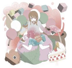 お菓子に囲まれる女の子のフリーイラスト