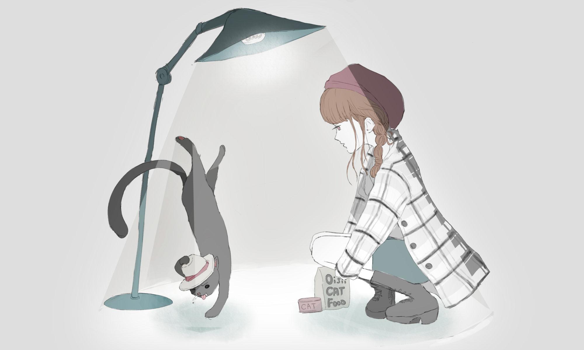 エサに釣られて踊る猫、手玉にとる女子のフリーイラスト