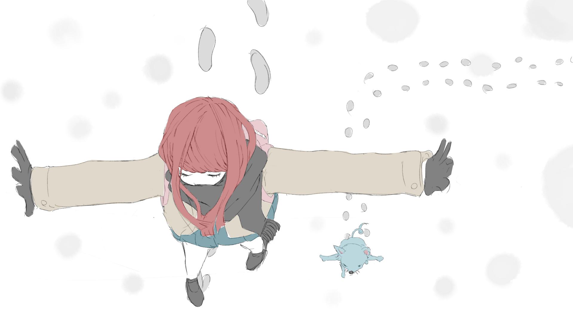 雪の日にそっと合流する女の子とかわいいねずみのフリーイラスト