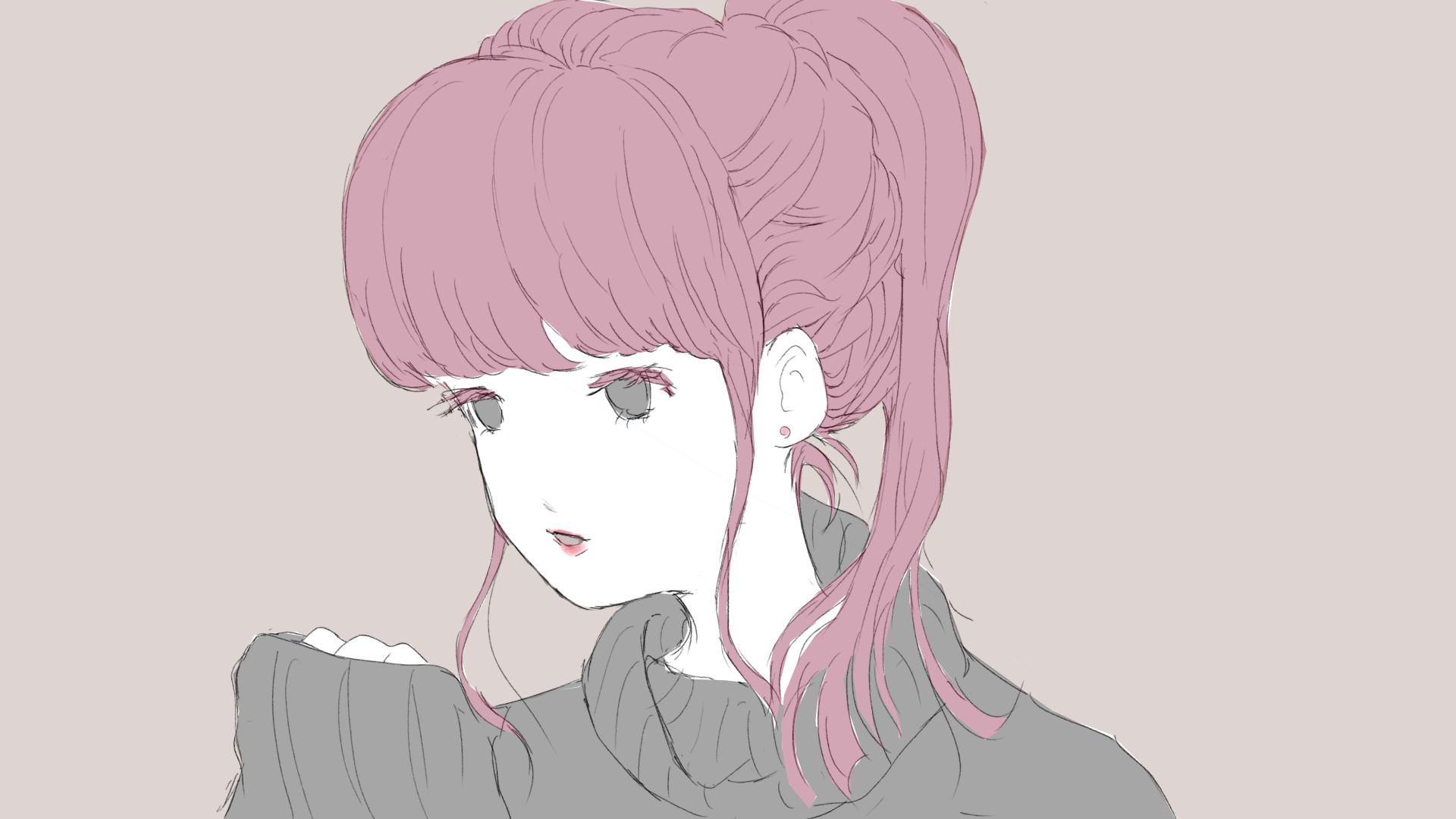 ピンク髪女子のフリーイラスト