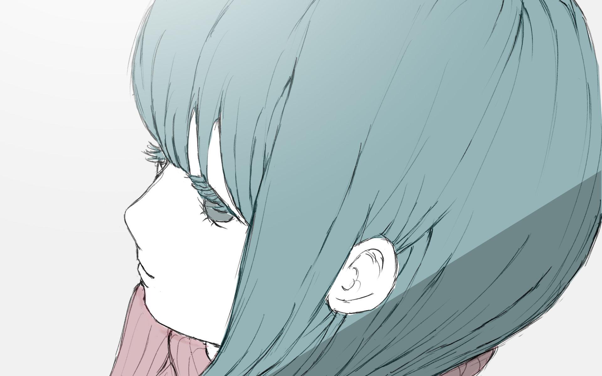 斜め上からの青髪少女のフリーイラスト