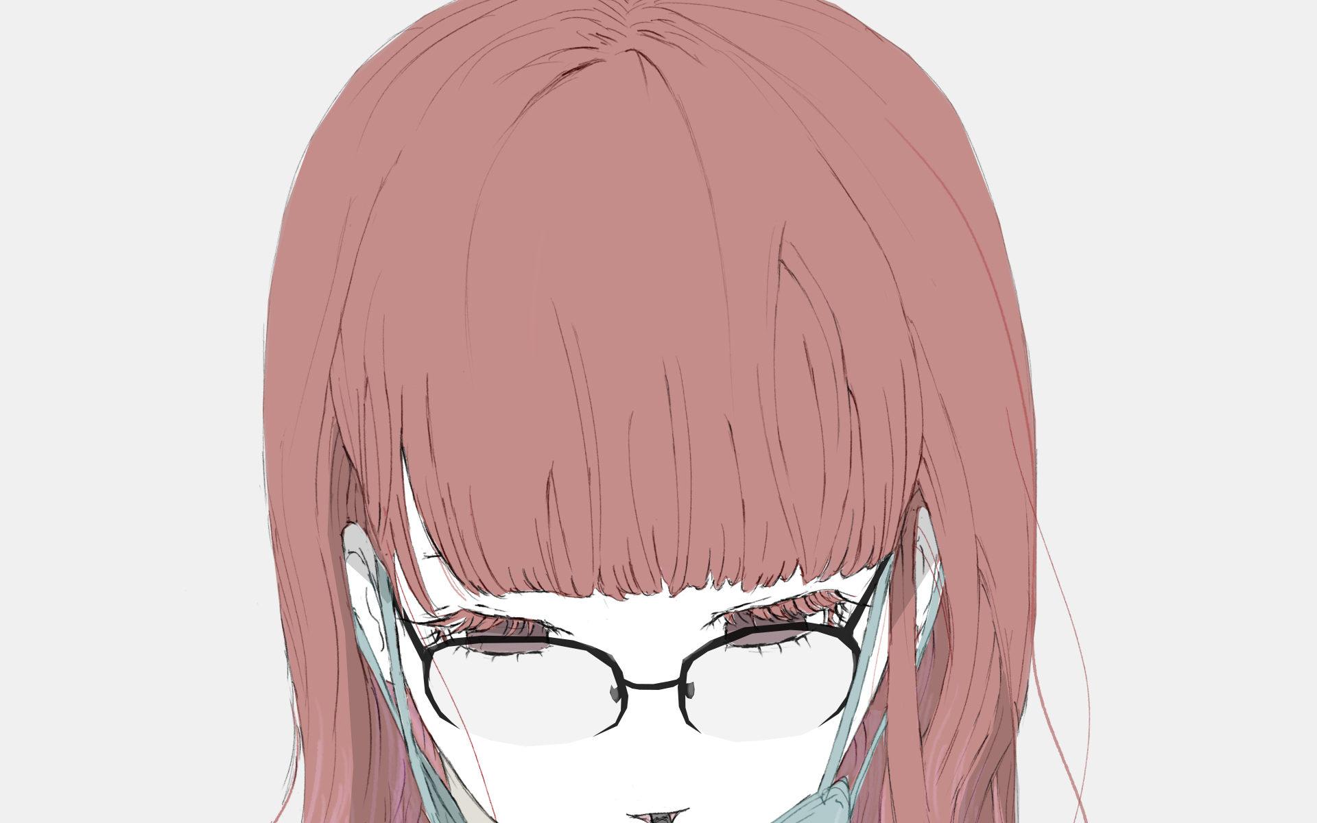 マスクが邪魔そうに飲むメガネ女子のフリーイラスト