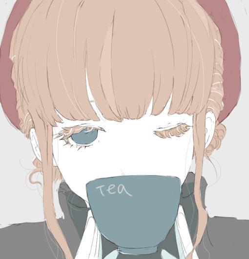 紅茶大好きなお姉さんのフリーイラスト