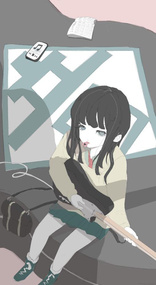 猫目の女の子、エレキギター弾くのフリーイラスト