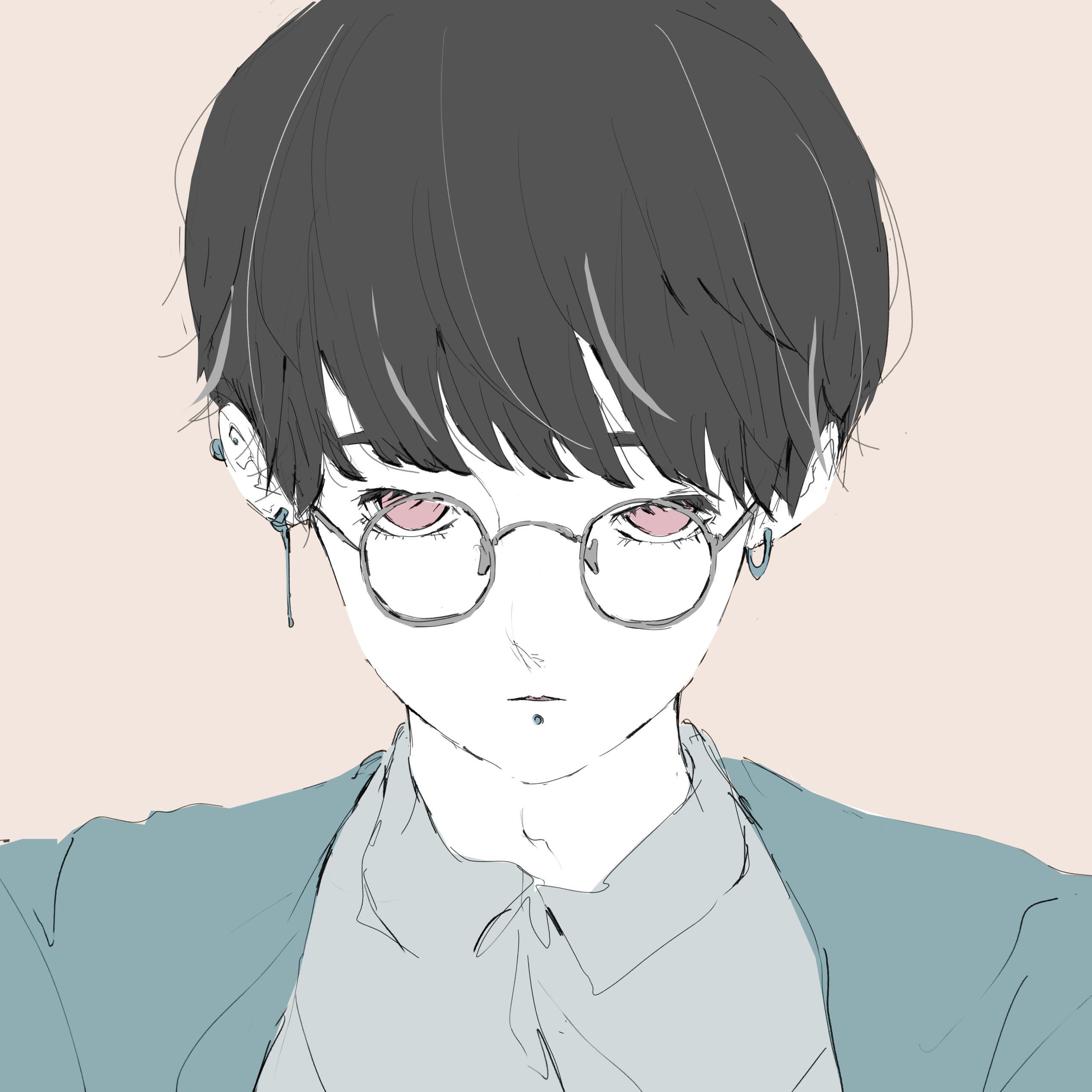 丸眼鏡をかけた黒髪の男の子のイラスト
