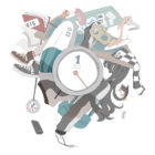 時計と浮いている女の子のイラスト