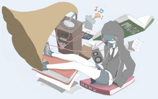 巨大架空蓄音機で音を作る女の子のフリーイラスト