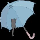 猫がしがみつく傘のイラスト