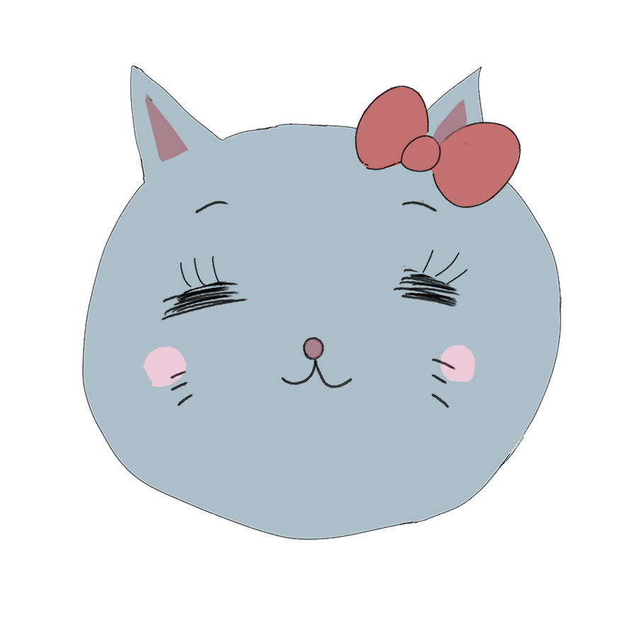 リボンをつけた女の子の猫のかわいいイラスト
