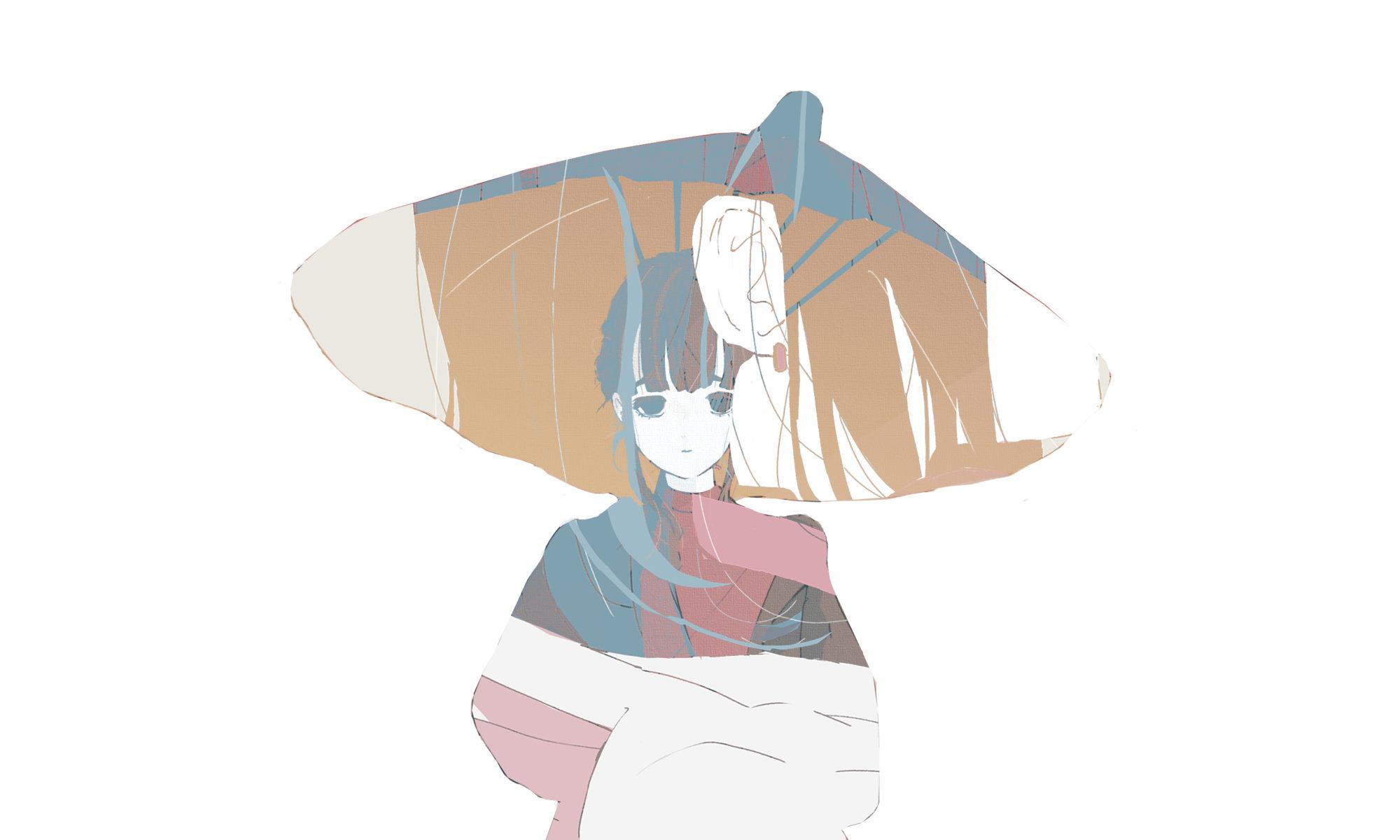 和傘を差す女の子のイラスト