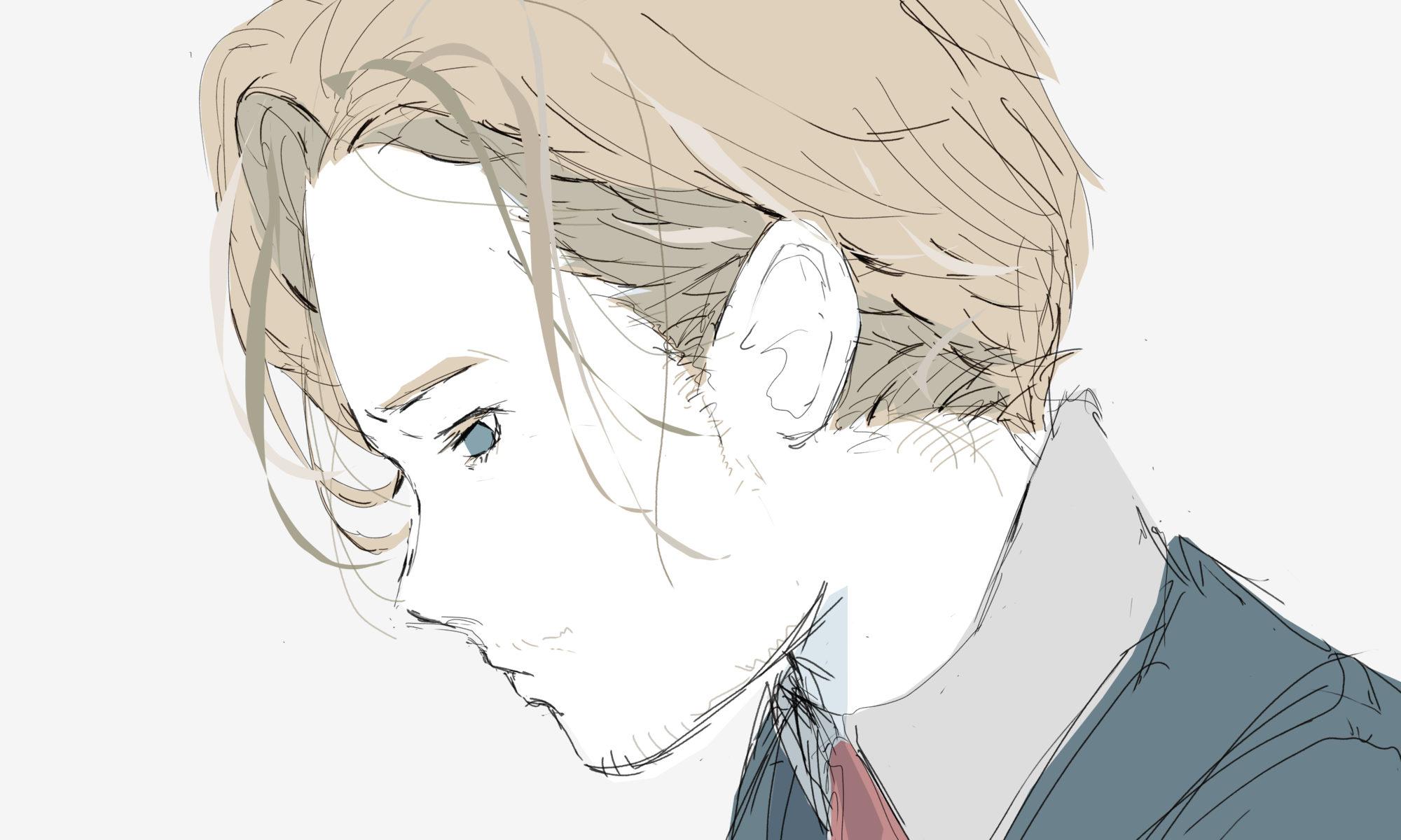 かっこいいピアニストの金髪の男のイラスト