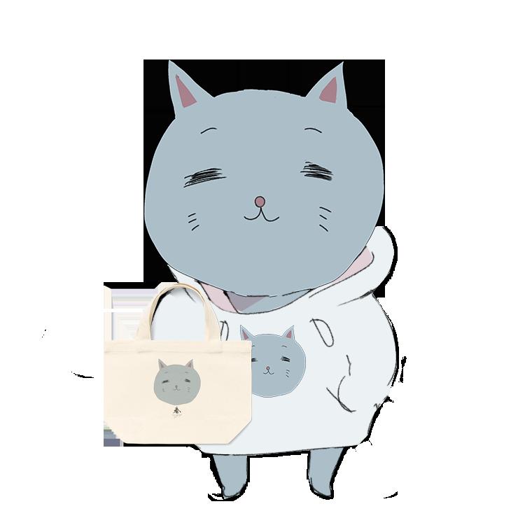 トートバッグ持ったパーカー猫のイラスト